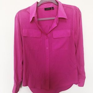 NWOT Hot Pink Button Down